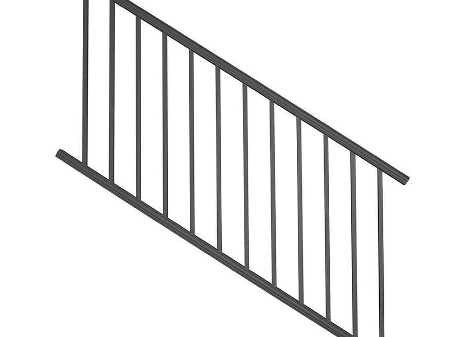Deckorators Classic Aluminum Matte Black Aluminum Deck Stair Rail | Lowes Exterior Stair Railing | Railing Systems | Stair Parts | Stair Treads | Lowes Com | Wrought Iron