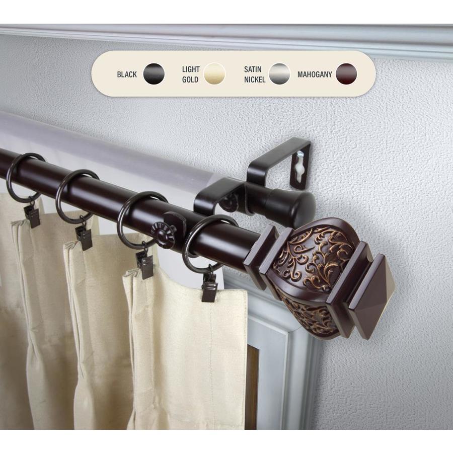 mahogany steel double curtain rod