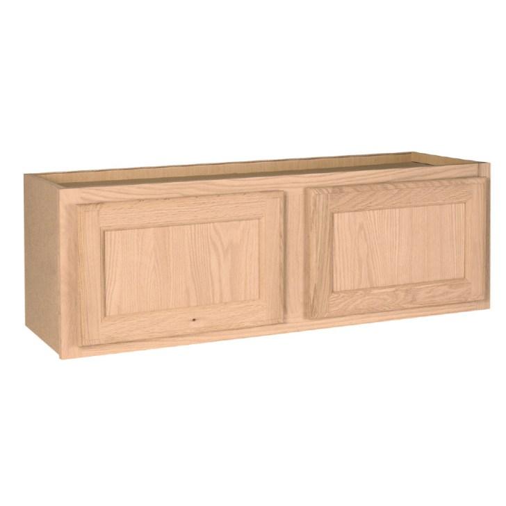 Unfinished Brown Oak Double Door Kitchen Wall Cabinet