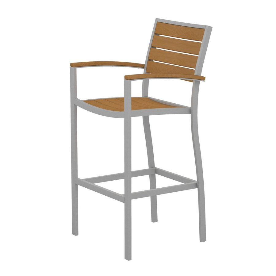 shop polywood slat seat aluminum patio bar height chair at lowes com: bar height patio chair