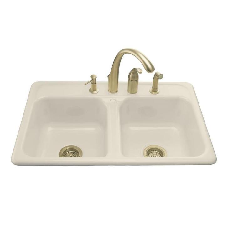 Almond Double Basin Cast Iron Drop Kitchen Sink