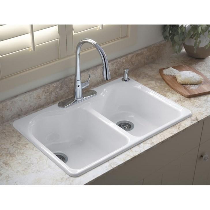 Shop Kohler Hartland White Double Basin Drop Kitchen Sink
