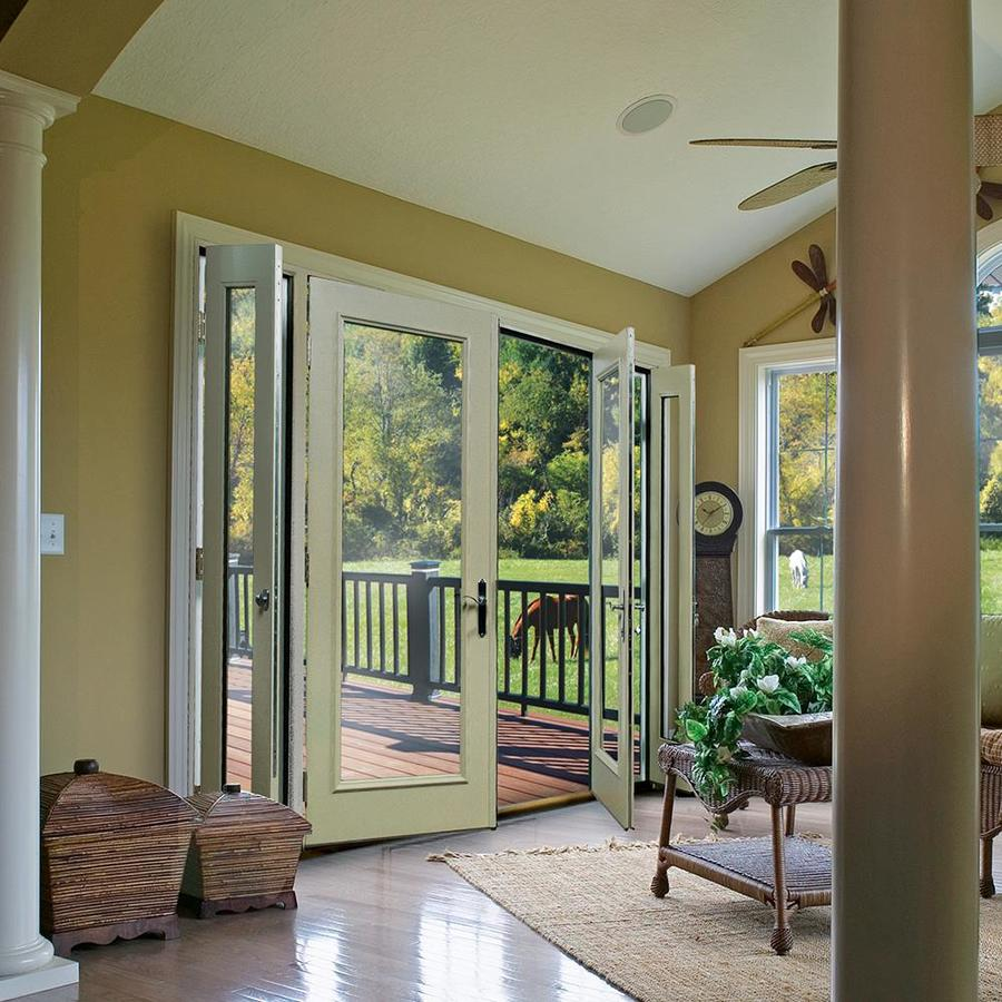 therma tru benchmark doors 95 in x 80 in clear glass ready to paint fiberglass left hand inswing double doors french patio door in the patio doors department at lowes com