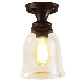 allen + roth 6-1/4-in W Edison Style Oil-Rubbed Bronze Clear Glass Semi-Flush Mount Light