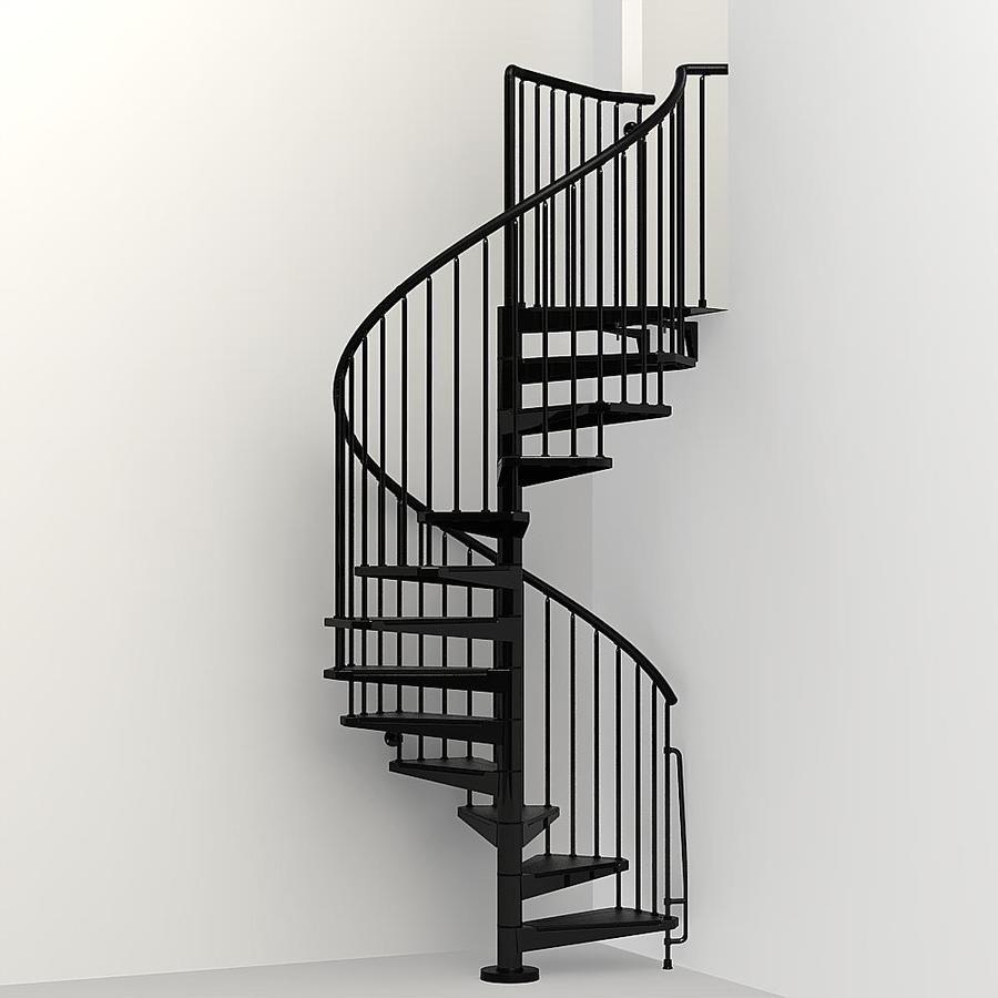 Arke Civik 55 In X 10 Ft Black Spiral Staircase Kit On Popscreen   10 Ft Spiral Staircase   Arke Eureka   Balcony Railing   Lowes   Gray Interior   Attic Staircase