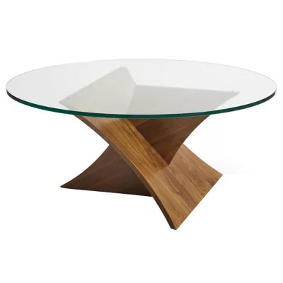 planes round glass top coffee table by copeland furniture