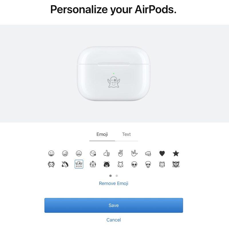 customizeairpodsemoji 800x794 - آبل تتيح نقش الإيموجي والنصوص على علبة سماعات Apple AirPods