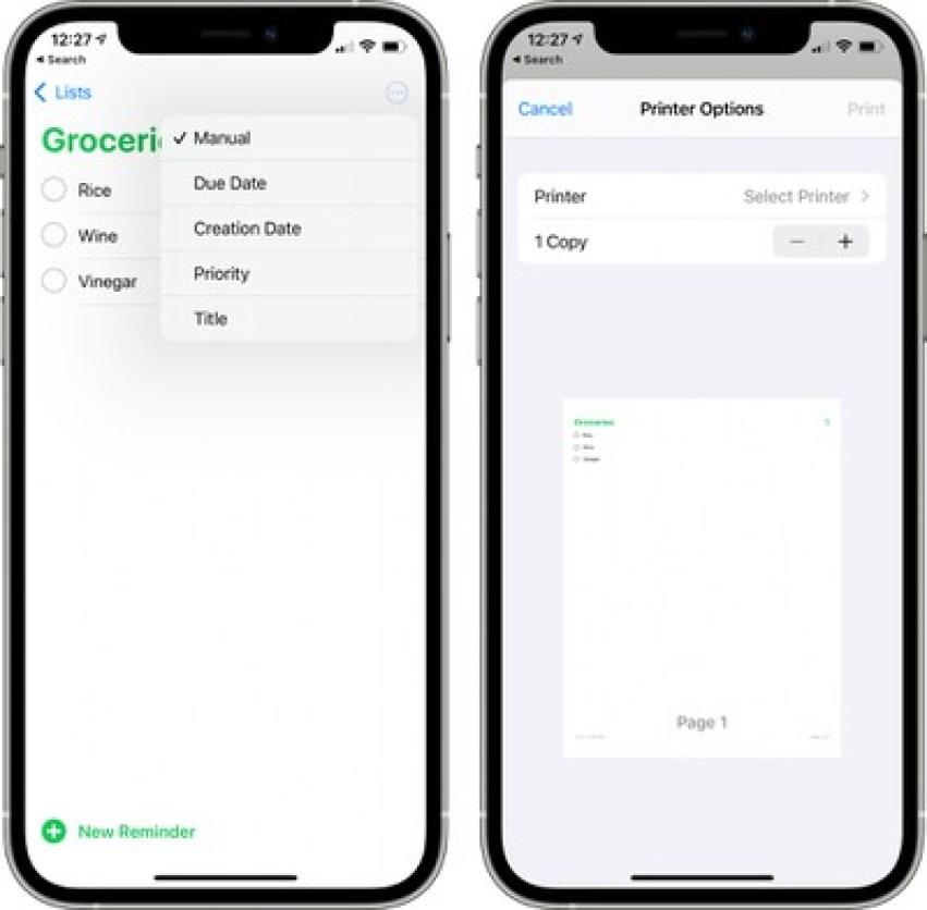 リマインダーアプリの並べ替え印刷