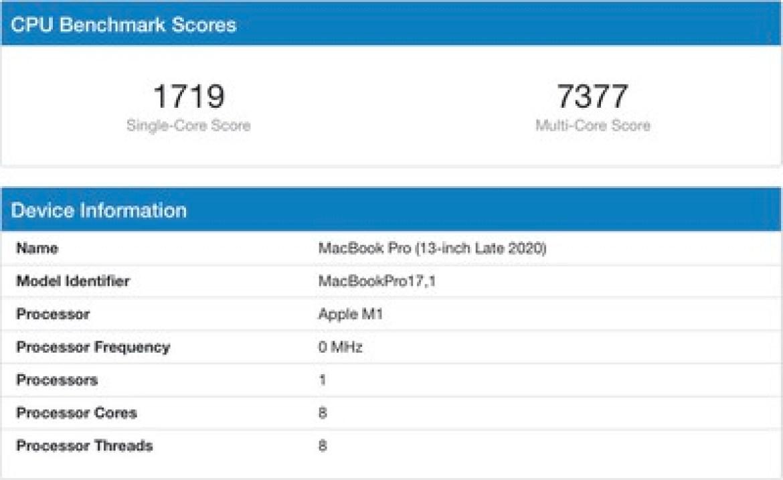m1 macbook pro geekbench benchmark