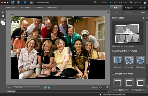 Another new and useful Guided Edit is Picture Stack, which splits a single photo into 4-12 snapshots. You can fine-tune border width and background, and if you enter Full Edit mode, you can alter frame size and positioning.