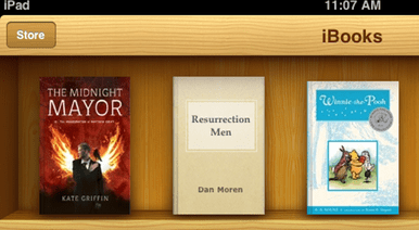iBooks bookshelf in iPad. If you don't have cover art, iBooks will create it for you.