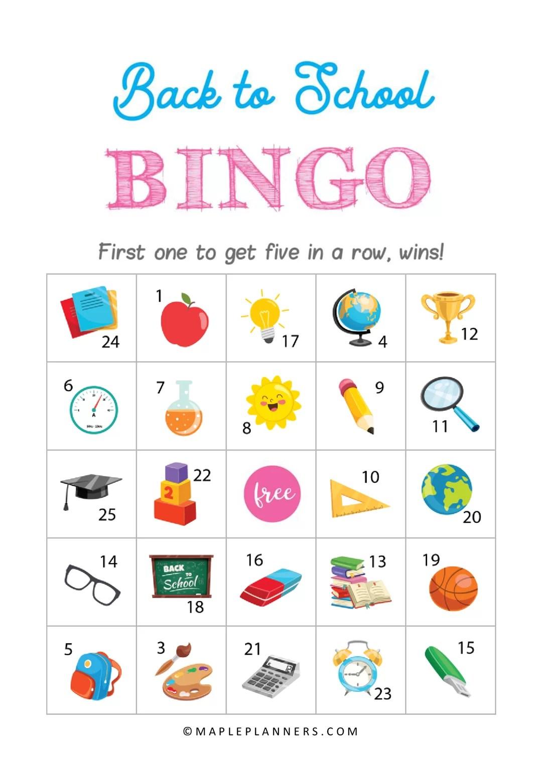 Printable Back To School Bingo