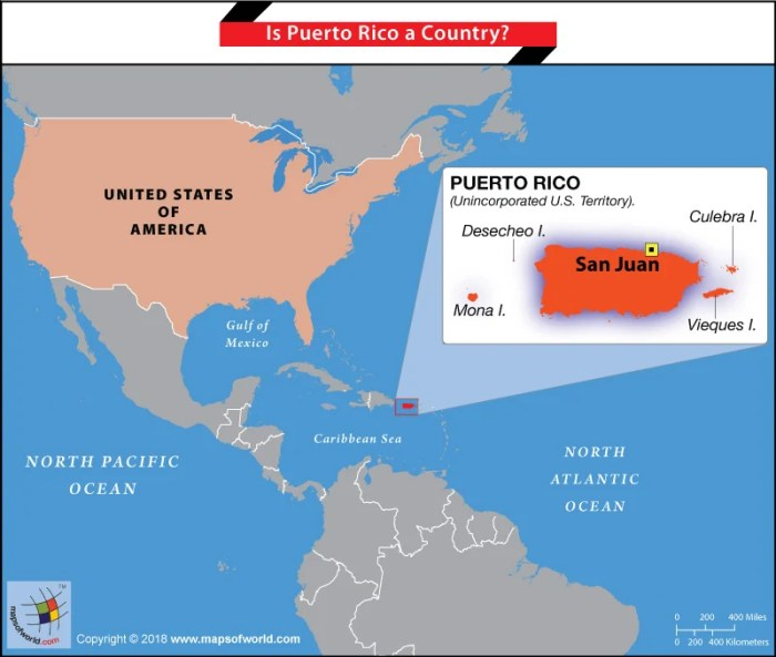 Map of Puerto Rico and USA