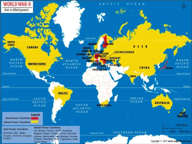 World Map showing Allied and Axis Countries