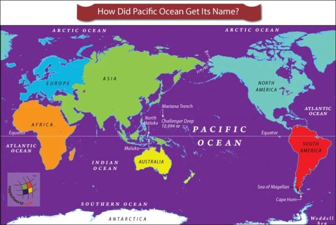 World map highlighting Pacific Ocean