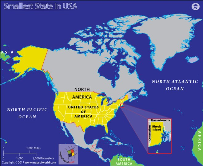 Map of USA highlighting Rhode Island, the smallest US state