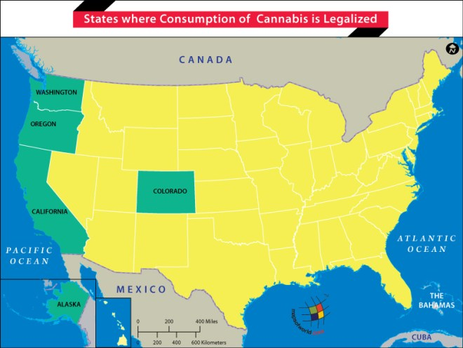 US Map showing Sates where Weed is Legal