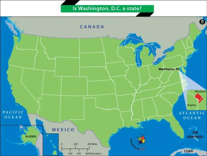 US Map showing Washington, DC