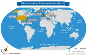 World Map Highlighting the Oldest Subway Systems in the World