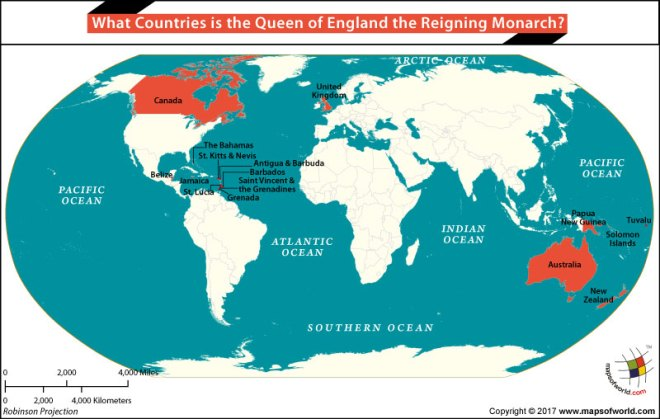 What countries is the Queen of England the Reigning Monarch?