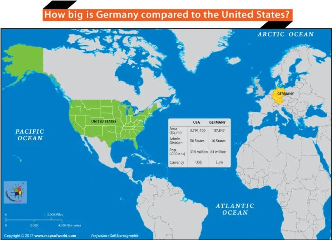 States Map Of Germany.How Big Is Germany Compared To The United States Answers