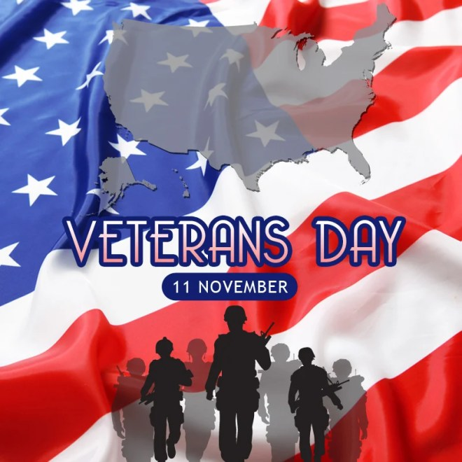 US Map with a background of US Flag for Veterans Day