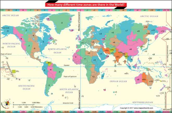World Map demarketing number of time zones in the World