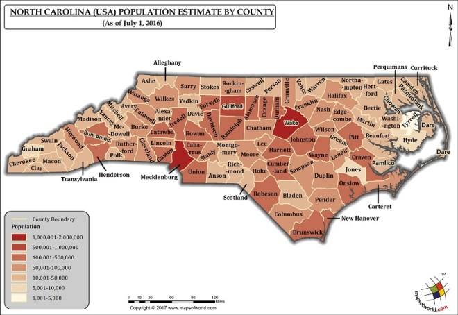 North Carolina Population Map