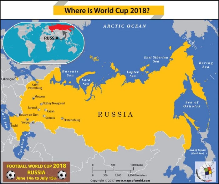 Russia Map showing the Football World Cup 2018 host cities