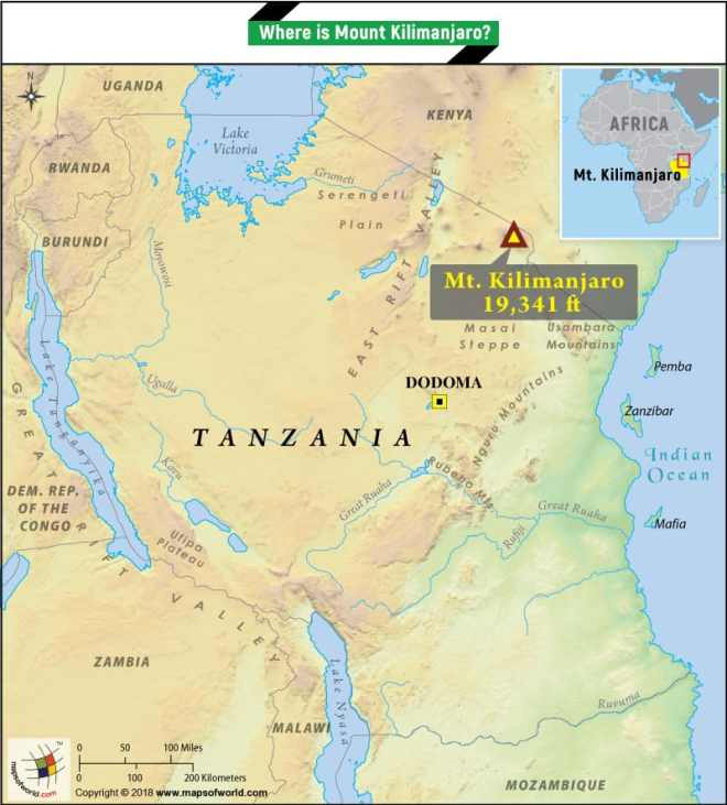 Where Is Mount Kilimanjaro On A Map Of Africa.Where Is Mount Kilimanjaro Located What Is The Height Of The Mountain