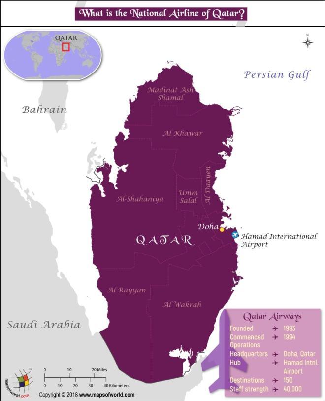 Qatar Map highlighting the headquarters of Qatar Airways