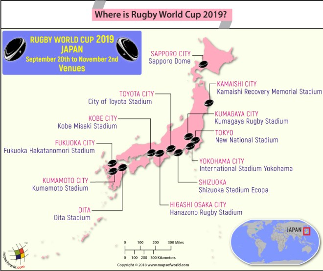 Japan Map Highlighting the Venues of Rugby World Cup 2019