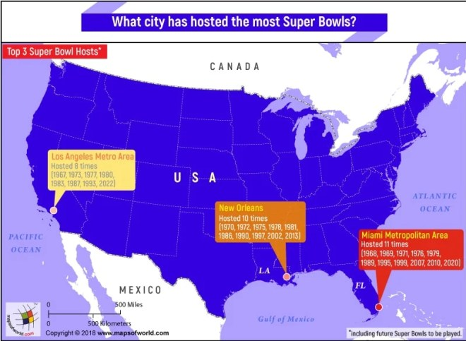 Map of USA highlighting the Cities/Metropolitan areas which have hosted the most Super Bowls
