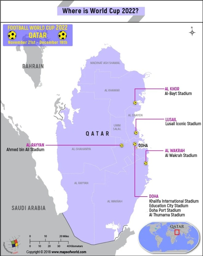 Qatar Map highlighting the venues of World Cup 2022