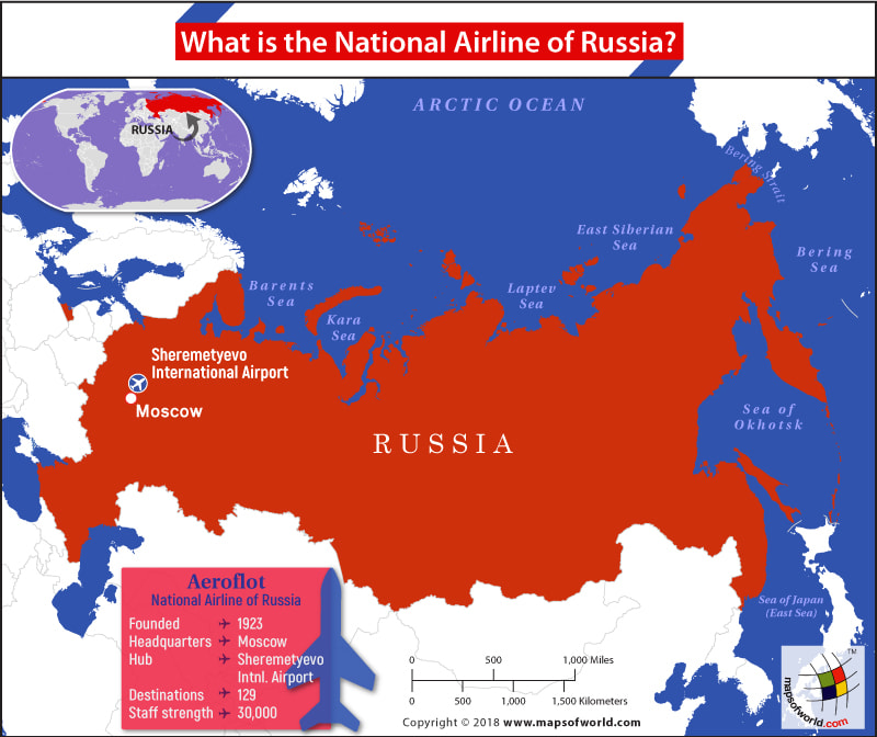Map of Russia highlighting headquarters of Aeroflot and ridership statistics