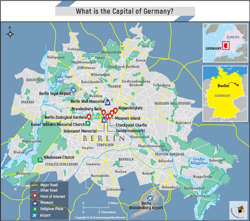 Map of Berlin City, the capital of Germany