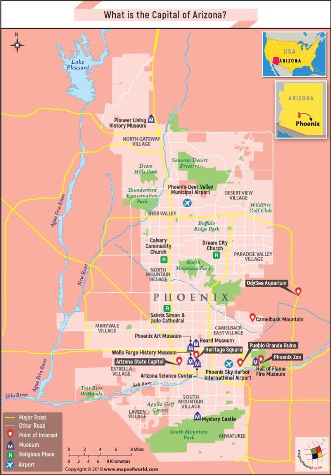 Phoenix Map Of Arizona Cities.What Is The Capital Of Arizona Answers
