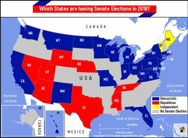 What States Are Having Senate Elections In 2018 Answers - Us-map-of-democratic-and-republican-states