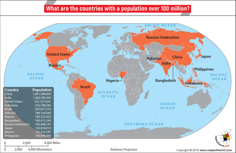 World Map highlighting countries which have more than 100 million population