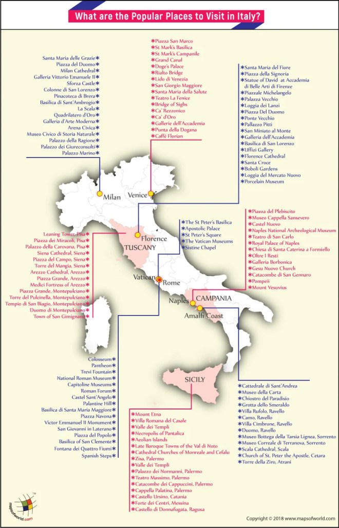 Italy Map – popular places to visit in the country