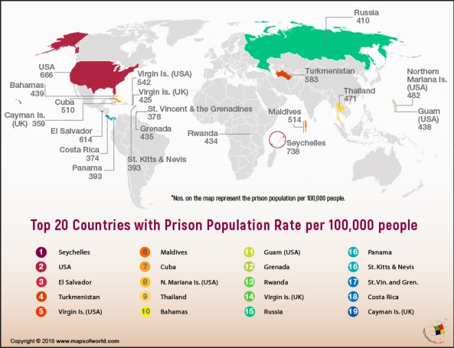 World Map showing countries with prison population per 100,000 people