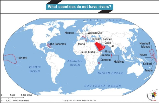 World Map highlighting countries that have no river