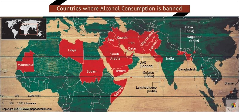 Map showing countries where alcohol is banned