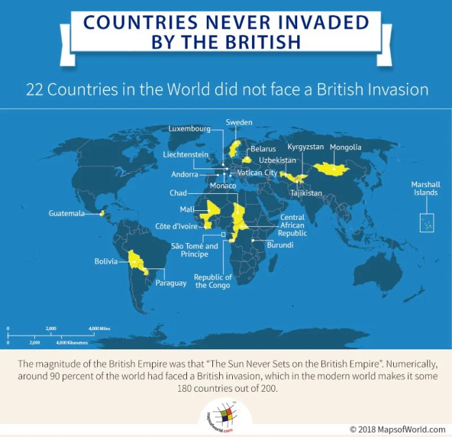 World Map highlighting countries that were never invaded by the British