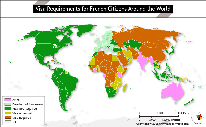 World Map highlighting countries on the basis of visa requirements for French citizens