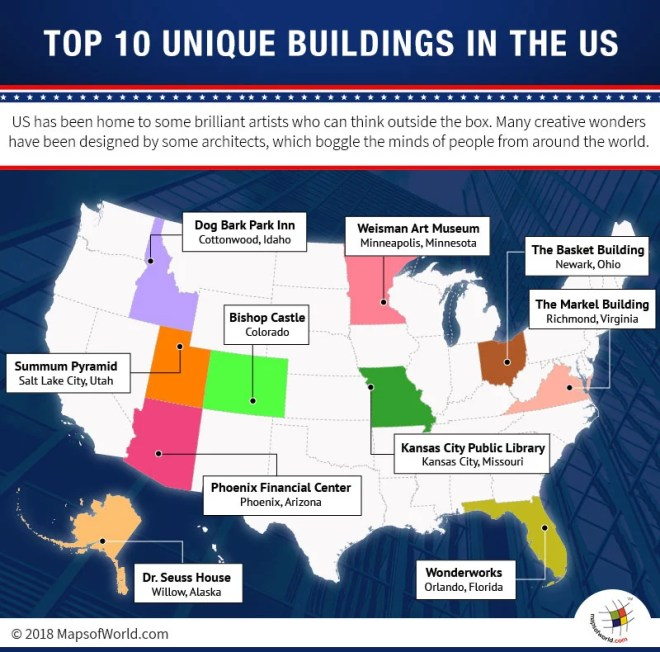 USA Map highlighting locations of Most Unique Buildings in the country