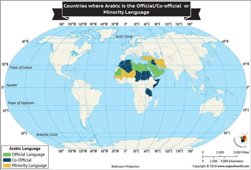 World Map depicting nations where Arabic is an Official, Co-official or Minority Language