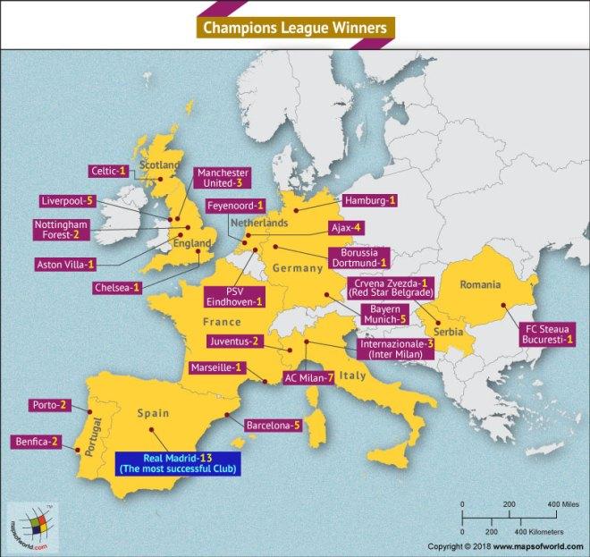World Map depicting Champion League Winners