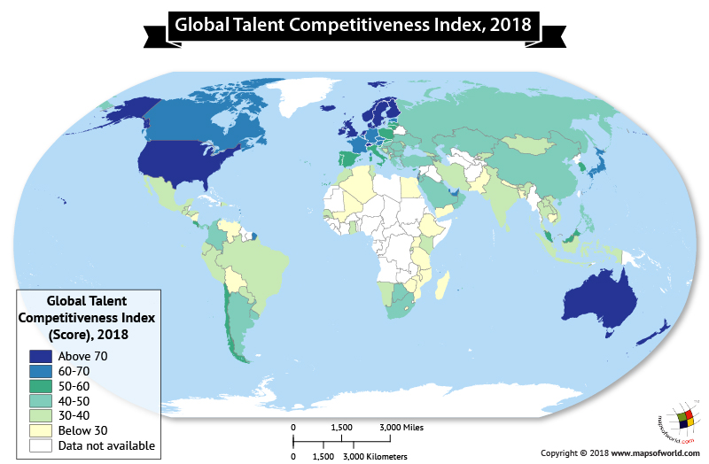 World Map highlighting Global Talent Competitiveness by Country