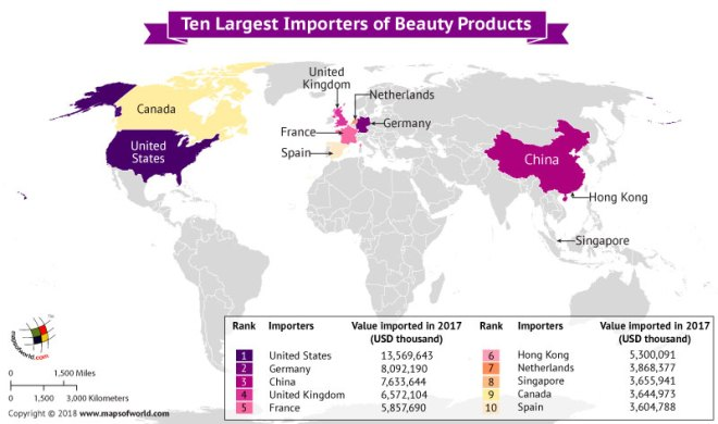 World Map depicting largest importers of beauty products